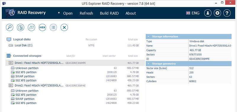 Dyski NAS w UFS Explorer RAID Recovery.